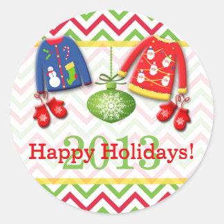 Pegatina feo 2 de los suéteres del navidad buenas