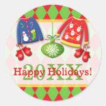 Pegatina feo de los suéteres del navidad buenas fi