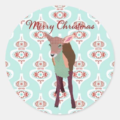 Pegatina festivo rosado del navidad del arte del