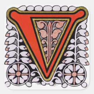 """Pegatina floral adornado de """"V"""" -"""