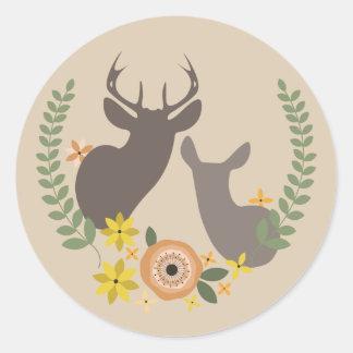 Pegatina floral anaranjado de los ciervos