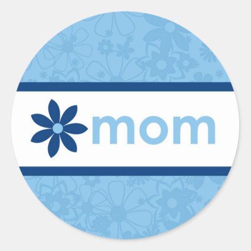 Pegatina floral azul alegre del día de madre