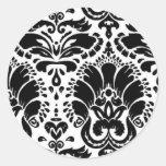 Pegatina floral blanco y negro del damasco