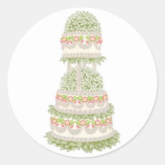 Pegatina floral con gradas de la torta del fiesta