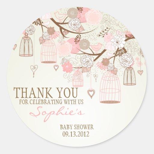 Pegatina floral de la fiesta de bienvenida al bebé