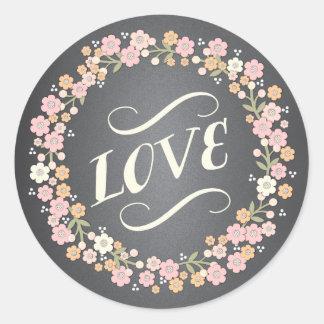 Pegatina floral del amor del boda de la guirnalda