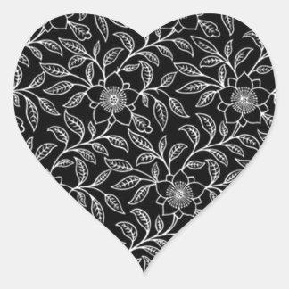 Pegatina floral del corazón de la hoja de las