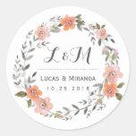 Pegatina floral del favor del boda de la guirnalda