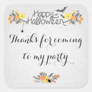 Pegatina floral del feliz Halloween