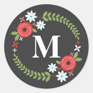 Pegatina floral del monograma de la guirnalda -