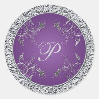Pegatina floral del monograma de la hoja púrpura y