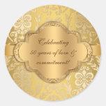 Pegatina floral del oro del remolino del damasco