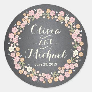 Pegatina floral del personalizado de la guirnalda