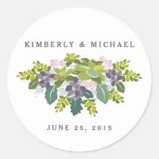Pegatina floral del personalizado del boda del pegatina redonda