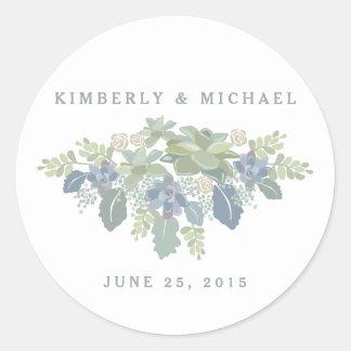 Pegatina floral del personalizado del boda del