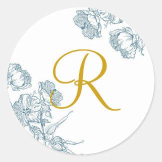 Pegatina floral elegante del monograma