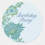 Pegatina floral enorme azul y verde del cumpleaños