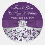 Pegatina floral gris púrpura del favor del boda