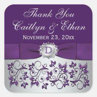 Pegatina floral gris púrpura del favor del boda de
