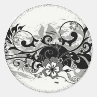 Pegatina floral negro y blanco del diseño del