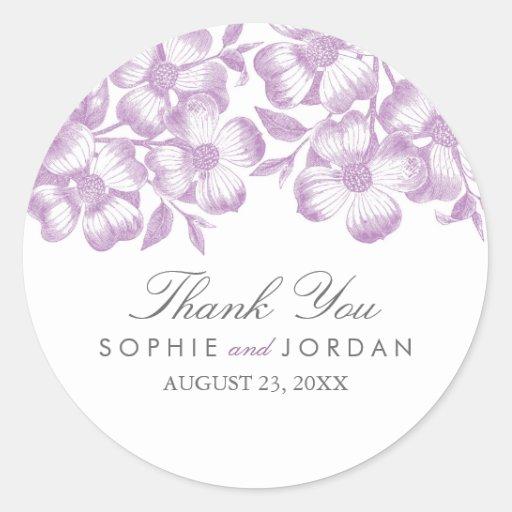 Pegatina floral púrpura moderno del boda