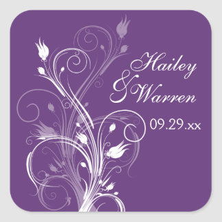 Pegatina floral púrpura y blanco 2 del favor del