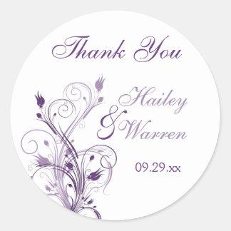Pegatina floral púrpura y blanco del favor del