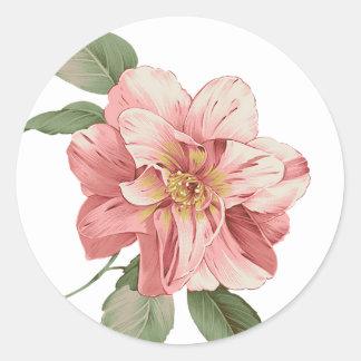 Pegatina floral/sello del lirio rosado