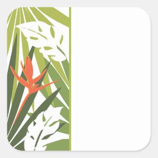 Pegatina floral tropical anaranjado del favor del