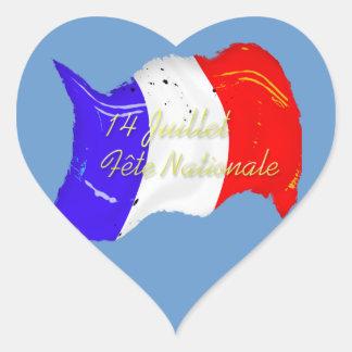Pegatina francés del corazón de la bandera del