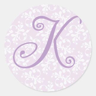 Pegatina francés del monograma K de la lavanda del
