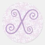 Pegatina francés del monograma X de la lavanda del