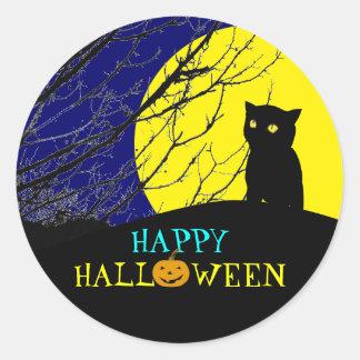 Pegatina fresco de Halloween: Gato negro