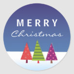 Pegatina fresco de las Felices Navidad con los árb