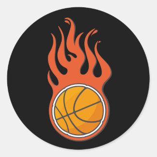 Pegatina fresco del baloncesto del fuego