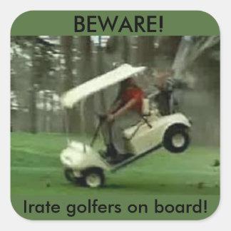 Pegatina furioso de los golfistas del carro de