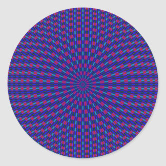 Pegatina geométrico azul y rojo de los círculos