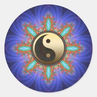 Pegatina geométrico de Yin Yang del oro de la