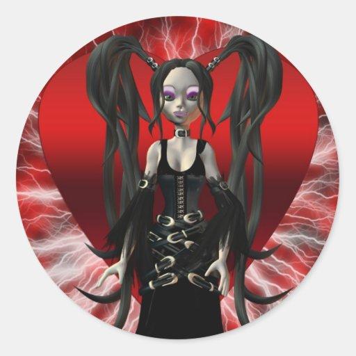 Pegatina gótico del el día de San Valentín,