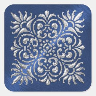 Pegatina grabado en relieve azul y de plata