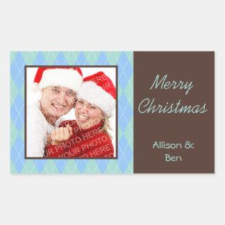 Pegatina grande azul de las Felices Navidad del