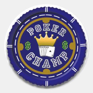 Pegatina grande del campeón del póker