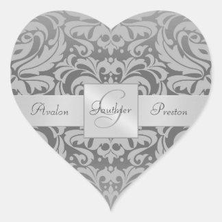 Pegatina gris elegante del boda del corazón del