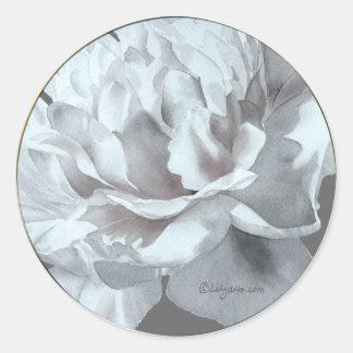 Pegatina gris fresco del sobre del boda del Peony
