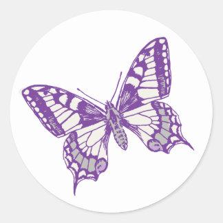 Pegatina gris púrpura del boda de la mariposa de