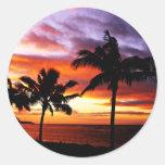 Pegatina hawaiano de la puesta del sol