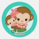 Pegatina hawaiano Mahalo de la fiesta de bienvenid