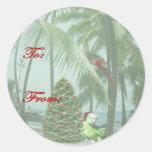 Pegatina hawaiano tropical de la etiqueta del