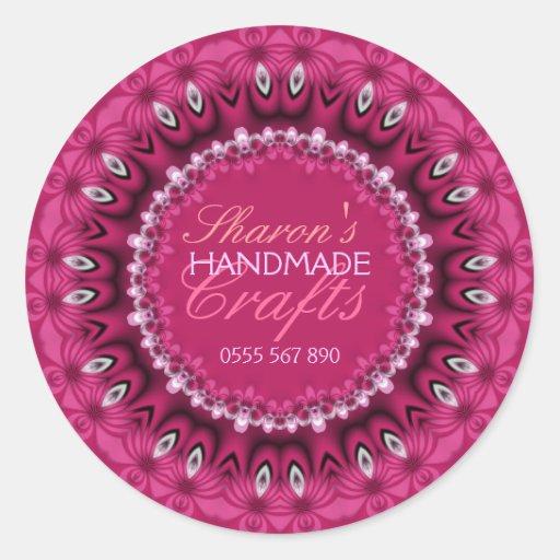 Pegatina hecho a mano de encaje rosado femenino