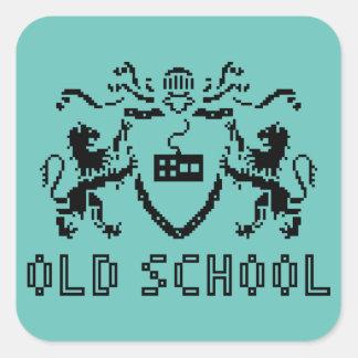 Pegatina heráldico de la escuela vieja del pixel